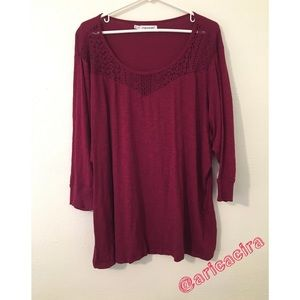 Maroon Blouse with see through lace collar.