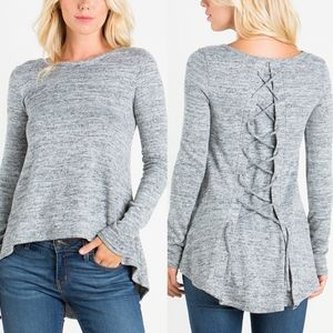 Lace-up Back Top - 2 colors