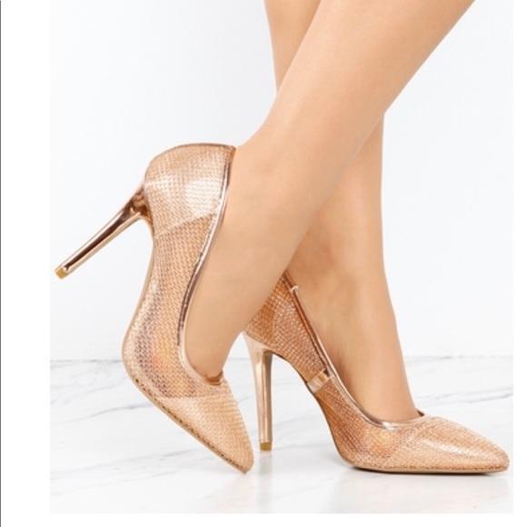932819dc583 Ladies mesh high heels pump. Rose gold