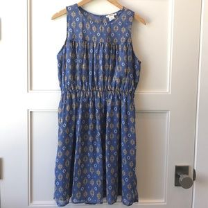 Ladies Blue & Mustard Pattern Dress