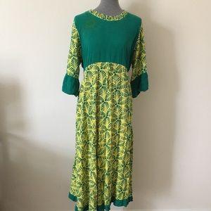🔖final sale🔖Batik Green Maxi Dress