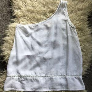 Cloth & Stone One Shoulder White Top w/ Crochet