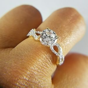 14k Solid Yellow Gold Engagement Ring 1ct Round