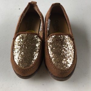Toddler loafers with glitter toe