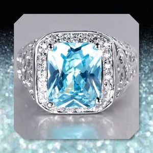 JUST IN🆕5.15ct Blue Topaz 14k White Gold Ring 7