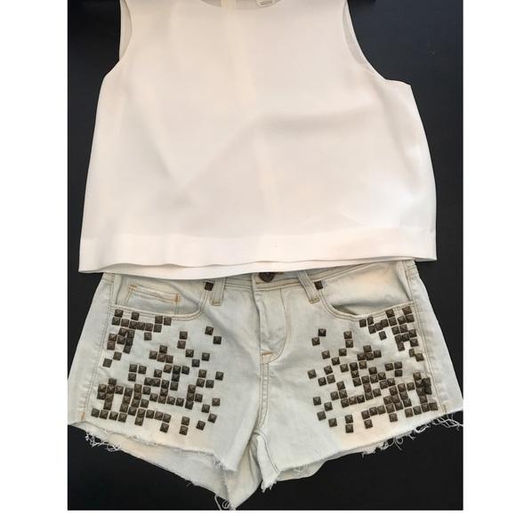 Blank studded denim shorts shorts