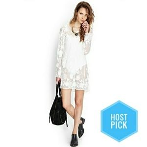 Nwt White Lace Mini Dress Tunic Beach Cover Up M/L
