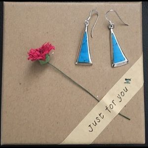 Jewelry - STERLING SILVER WITH INLAY OF TURQUOISE EARRINGS