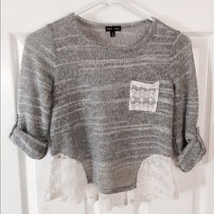 Girls Gray and White Lace Embroidered Sweater