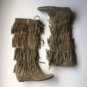 Michael Kors tan suede tall fringe boots