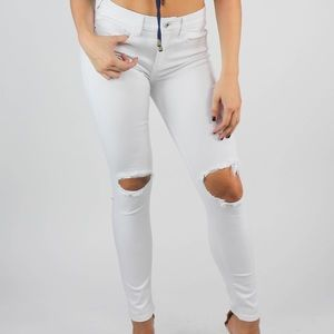 Denim - Open knee white jeans