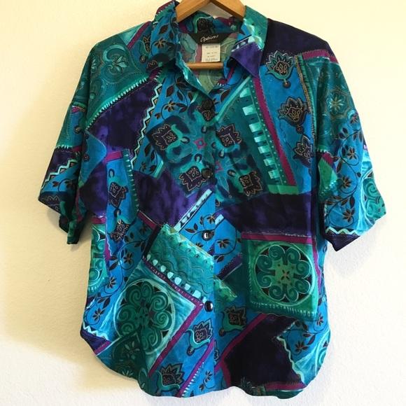 Vintage 80s 90s Abstract Boxy Button Up Blouse  Cimone Multi Coloured Shirt Blue Green Purple  m  l  SBU2