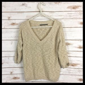 zara // nubby knit beige tan v-neck sweater