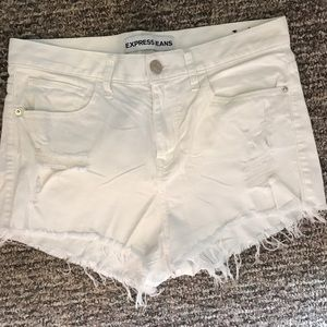 Express - White High Waisted Shorts - size 8