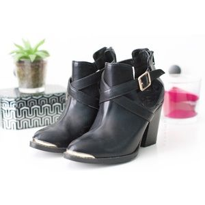 Rock & Republic | Gold Tip Cut-Out Ankle Booties