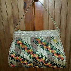 Handbags - Striped Straw Shoulder Bag - vintage