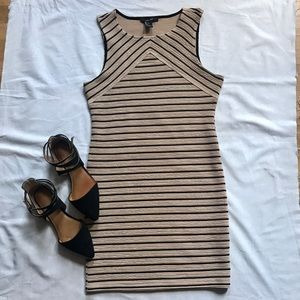 F21 Bodycon dress - tan and black stripe