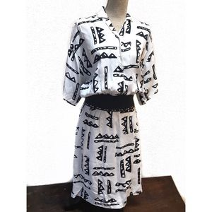 Vintage 80's Nicole Miller Dress Abstract Print