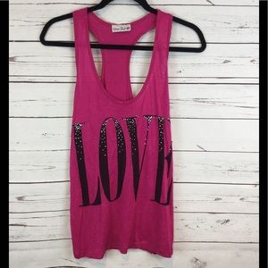 Tops - Dark Pink and Black Love Tank Top