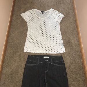 Small Top and Sz 2 Wh House Black Market Jeans