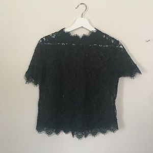 Hunter green Zara lace short sleeved top
