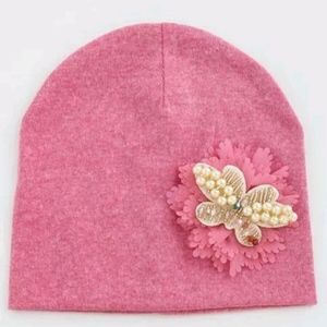 Other - New Pink Toddler Ornate Butterfly Beanie One Size
