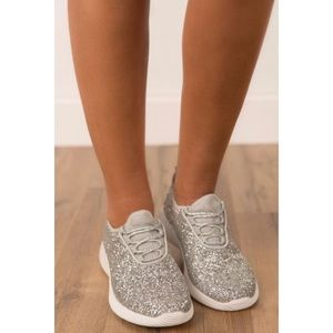 Shoes - New silver glitter sneakers