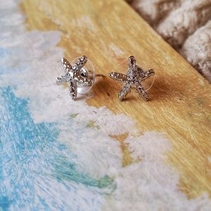 Silver-Tone Starfish Studs