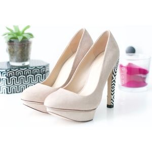Zara | NWOT Platform Woven-Design Heels