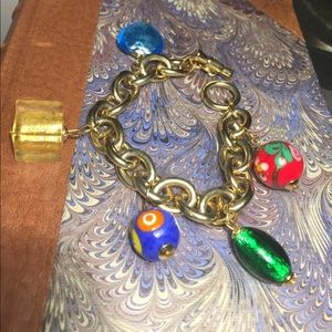 Chunky chain bracelet with Venetian glass beads