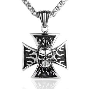 Other - Iron Flame Cross Skull Biker Stainless With Chain