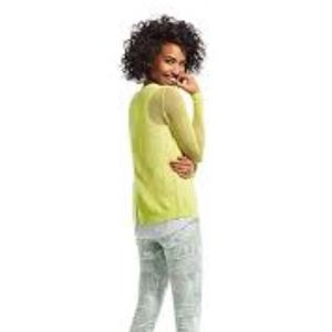 CAbi Tops - Cabi Lemon/ Lime split back pullover Sweater