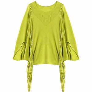 CUT25 Bright Green Fringe Mesh Knit Top
