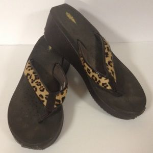 Volatile leopard print wedge sandals shoes 10