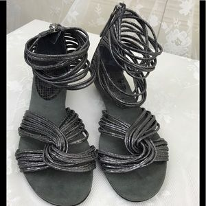 Nine West Silver Strappy Sandals