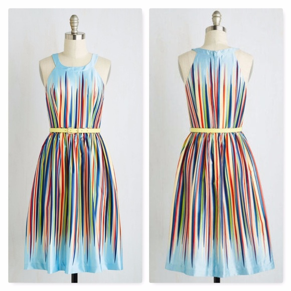 Modcloth Rainbow Belted Retro Dress Plus Size 4X