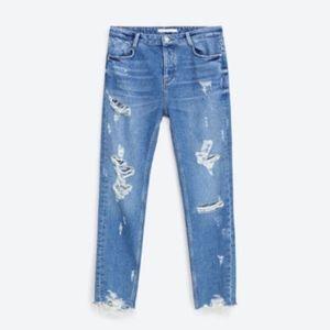 Zara Blue Ankle Distressed Boyfriend Jeans