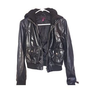 Jackets & Blazers - Faux Leather Hoodie With Pockets