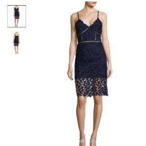Navy lace bodycon midi dress