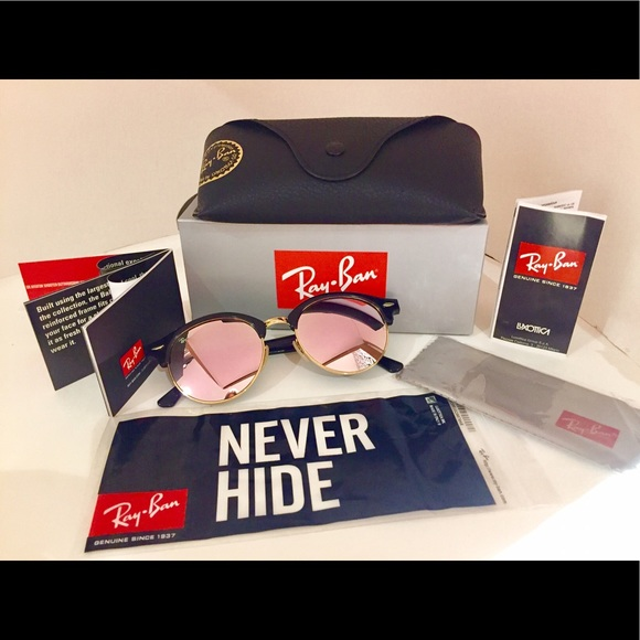289979c26a Rayban rb4243 51mm round clubmaster flash pink💯😍
