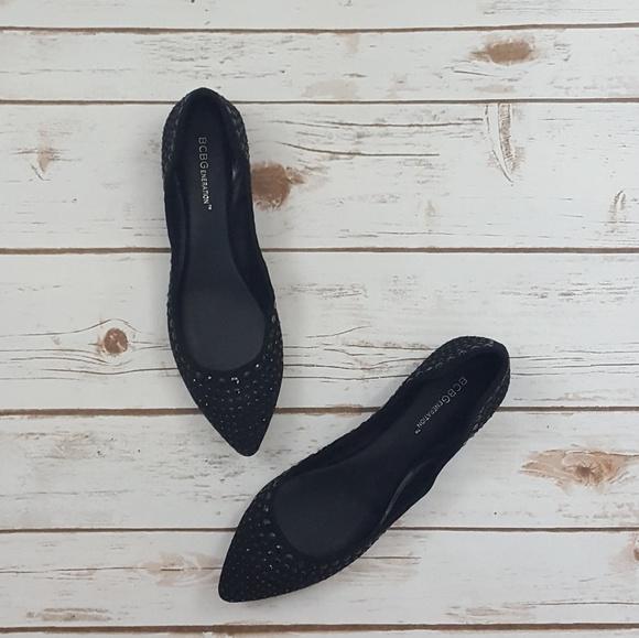 513ccb3872db41 BCBGeneration Shoes - BCBGeneration Black Satin Pointed Toe Ballet Flats