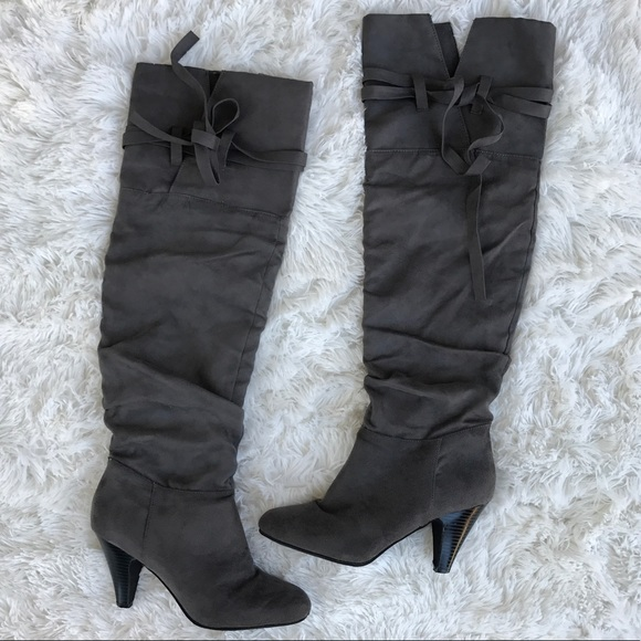877458966ce Charlotte Russe Shoes - Charlotte Russe gray Suede over the knee boots