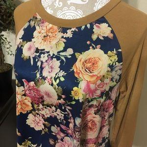 Tops - Beautiful Mustard Long-sleeved Floral Top