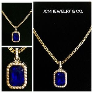 Other - 14K Gold Plated Cuban w/ Encrusted Sapphire Piece