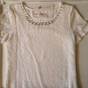 Tops - 🆕 Ivory Lace Top with Beading