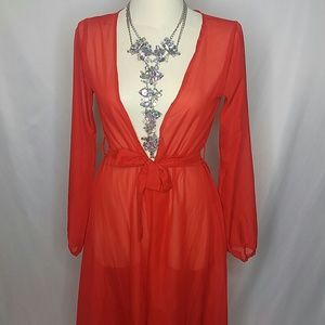 Other - *sold on eBay*Red long duster swimsuit cover up