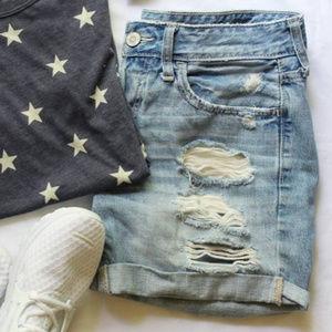 Hollister Shorts - Distressed Denim Shorts