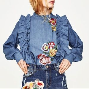 Zara top with embroidered flowers and frills