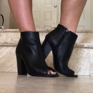 Shoes - Black Faux Leather Peeptoe Booties