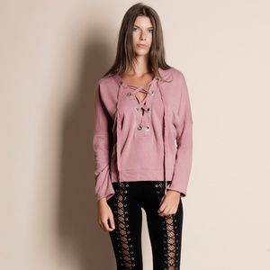 Lace Up Long Sleeve Sweater Top (PINK)